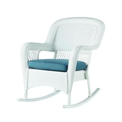 Well Known Martha Stewart Living Charlottetown White All Weather Wicker Patio In White Resin Patio Rocking Chairs (View 9 of 20)