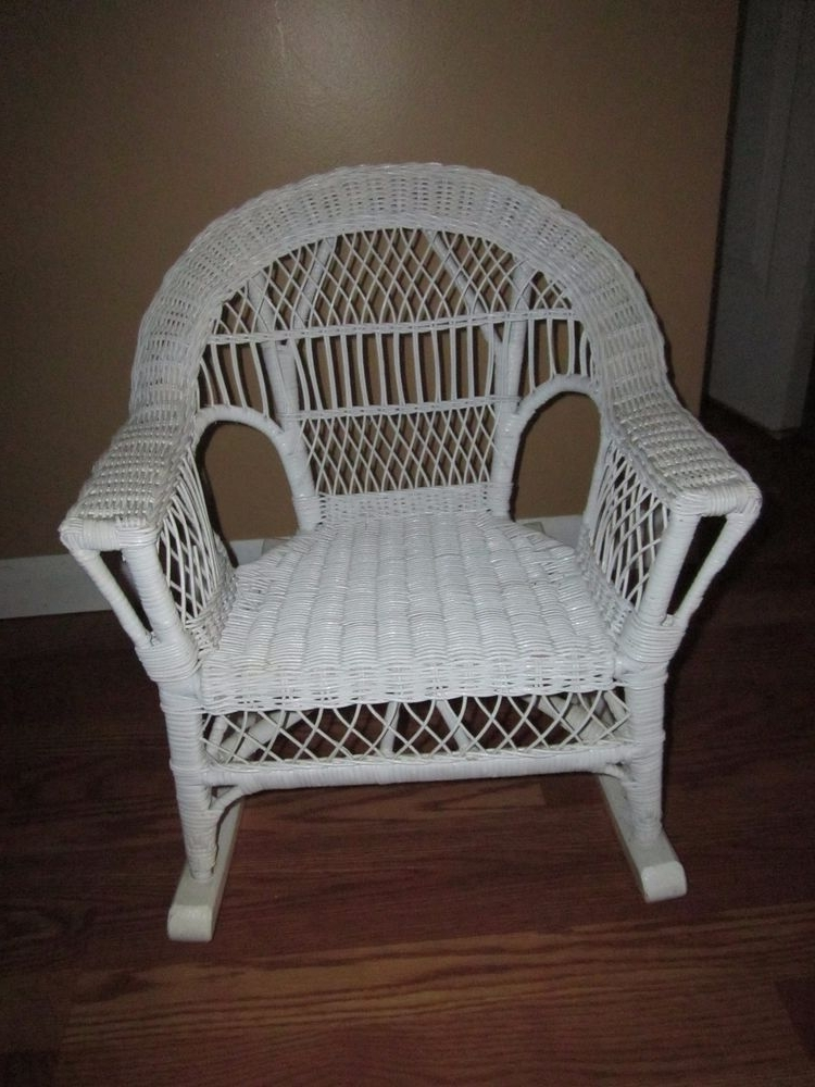 Well Known Vintage Childs – Toddlers White Wicker Rocking Chair (View 17 of 20)