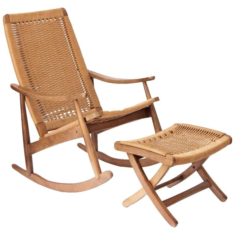Well Known Woven Rope Mid Century Modern Rocking Chair And Ottoman At 1Stdibs Throughout Patio Rocking Chairs With Ottoman (View 11 of 20)