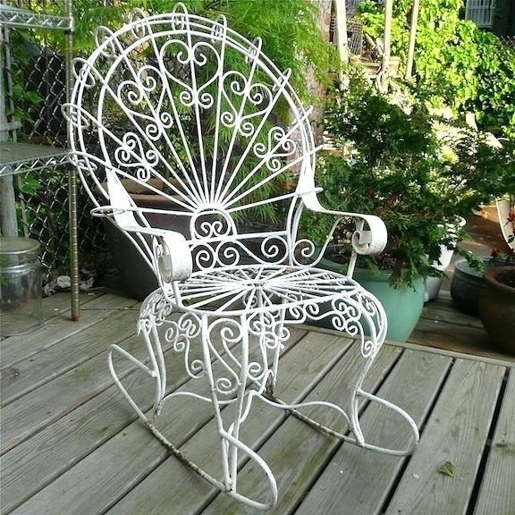 Well Known Wrought Iron Patio Rocking Chairs Regarding Wrought Iron Porch Rocking Chair (View 14 of 20)