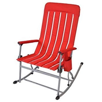 Well Liked Folding Rocking Chairs With Regard To Amazon : Member's Mark Portable Rocking Chair – Red : Garden (View 20 of 20)