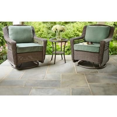 Well Liked Hampton Bay Rocking Patio Chairs Within Hampton Bay Spring Haven Grey All Weather Wicker Patio Swivel Rocker (View 20 of 20)