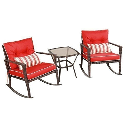 Well Liked Patio Rocking Chair W Table Set 3 Pcs Porch Outdoor Chat Rattan Intended For Red Patio Rocking Chairs (View 11 of 20)