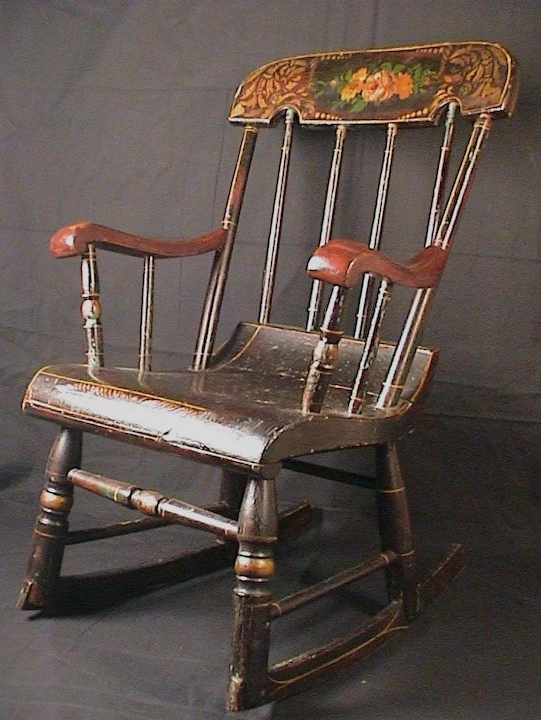 Well Liked Rocking Chairs At Roses Inside Antique Child's Rocking Chair Roses & Stenciled 19Th C (View 20 of 20)