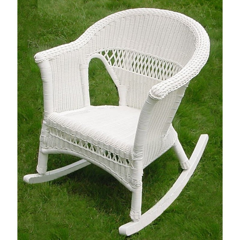 White Patio Rocking Chairs Regarding Recent White Wicker Rockers International Caravan Chelsea Wicker Resin (View 17 of 20)