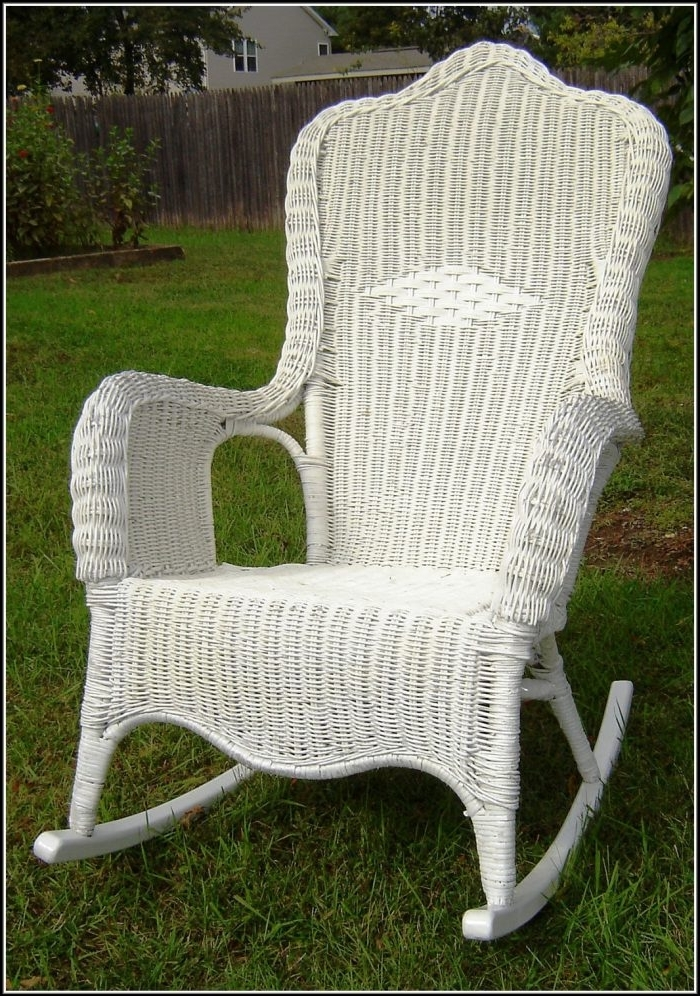 White Wicker Rocking Chair For Nursery In Popular Great Wicker Rocking Chair Cushions Home Furniture Ideas Throughout (View 15 of 20)