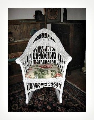 White Wicker Rocking Chair For Nursery Throughout Fashionable Antique 1920S White Wicker Rocker Rocking Chair Child Size Doll (View 19 of 20)