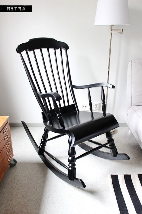 White Wicker Rocking Chair For Nursery Within Current Rocking Chair Makeover Rockers And Black White Nursery On Black (View 20 of 20)
