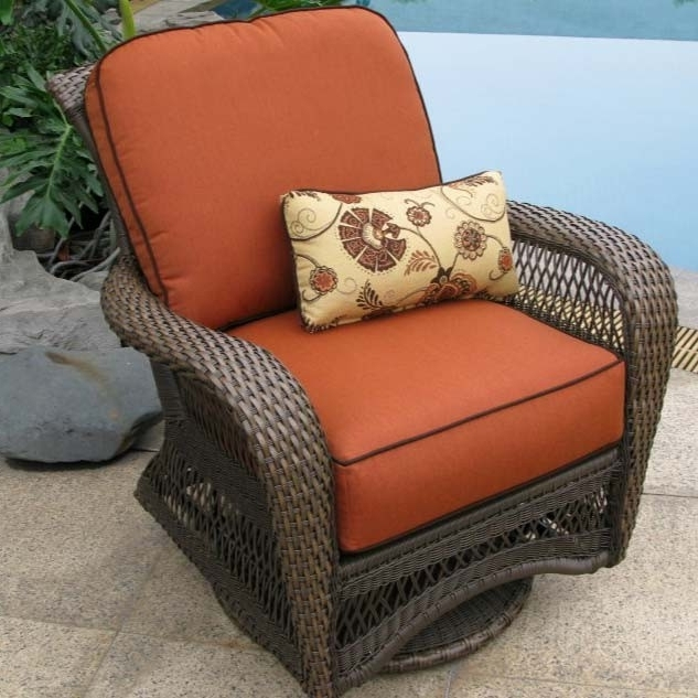 Wicker Rocking Chairs And Ottoman Intended For Well Known Rattan Swivel Rocking Chair – Bossandsons (View 18 of 20)