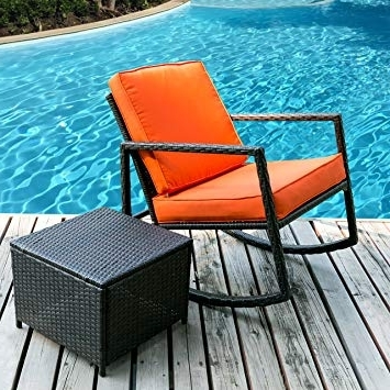 Wicker Rocking Chairs And Ottoman Regarding Latest Amazon : Merax Rattan Rocker Chair Patio Wicker Rocking Armed (View 19 of 20)