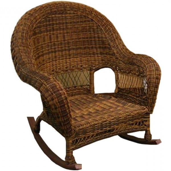 Wicker Rocking Chairs And Ottoman Throughout Fashionable Classic Coastal Hampton Wicker Rocker – Wicker (View 20 of 20)