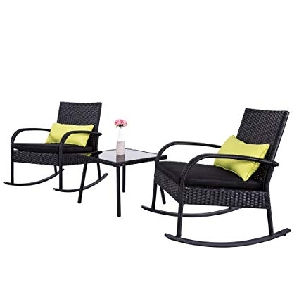Wicker Rocking Chairs Sets Regarding Most Recently Released Amazon : Cloud Mountain Outdoor 3 Piece Rocking Chair Set Wicker (View 17 of 20)