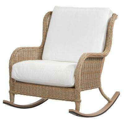 Wicker Rocking Chairs With Cushions For Latest Wicker Patio Furniture – Rocking Chairs – Patio Chairs – The Home Depot (View 19 of 20)