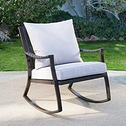 Widely Used Resin Wicker Rocking Chairs In Amazon : Premium Quality Patio Wicker Rocking Chair Wooden (View 20 of 20)