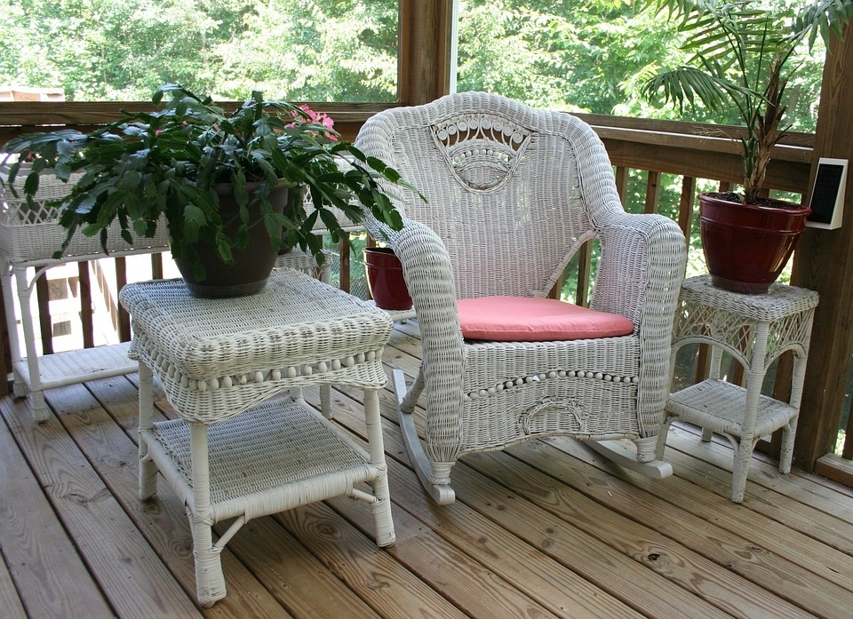 Widely Used Wicker Rocking Chair Porch White · Free Photo On Pixabay Intended For Patio Rocking Chairs And Table (View 20 of 20)