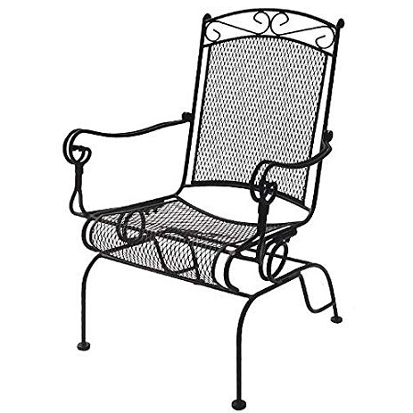 Wrought Iron Patio Rocking Chairs In Most Up To Date Amazon : Dc America Wis288 Charleston Wrought Iron High Back (View 18 of 20)