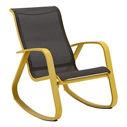 Yellow Outdoor Rocking Chairs With Fashionable Amazon : Grand Patio Modern Sling Rocking Chair Glider With (Gallery 3 of 20)