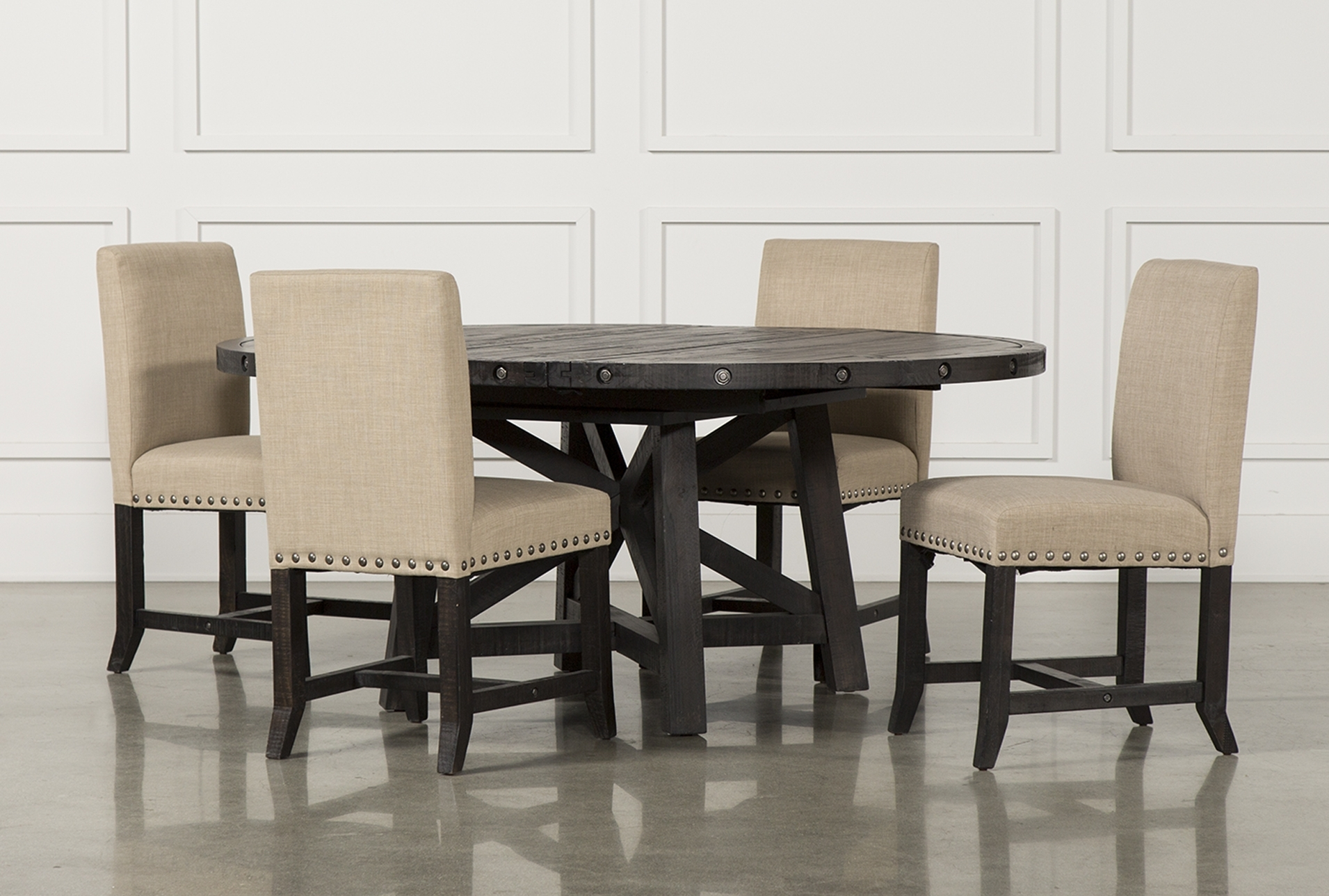 2017 Jaxon Grey Upholstered Side Chairs Regarding 5. Jaxon 5 Piece Round Dining Set W Upholstered Chairs Qty 1 Has (Gallery 9 of 20)