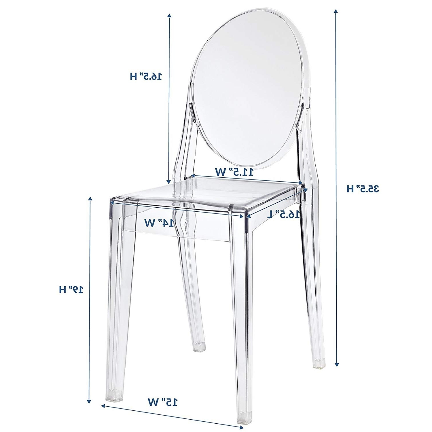 2017 Mandy Paper White Side Chairs Regarding Amazon – Modway Casper Dining Side Chair In Clear – Chairs (View 14 of 20)