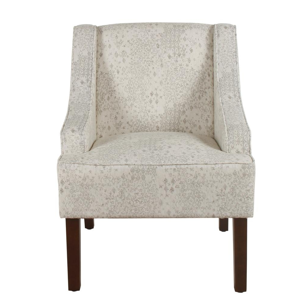 2017 Valencia Side Chairs With Upholstered Seat With Regard To Homepop Distressed Cream And Gray Vintage Stencil Classic Swoop Arm (View 1 of 20)