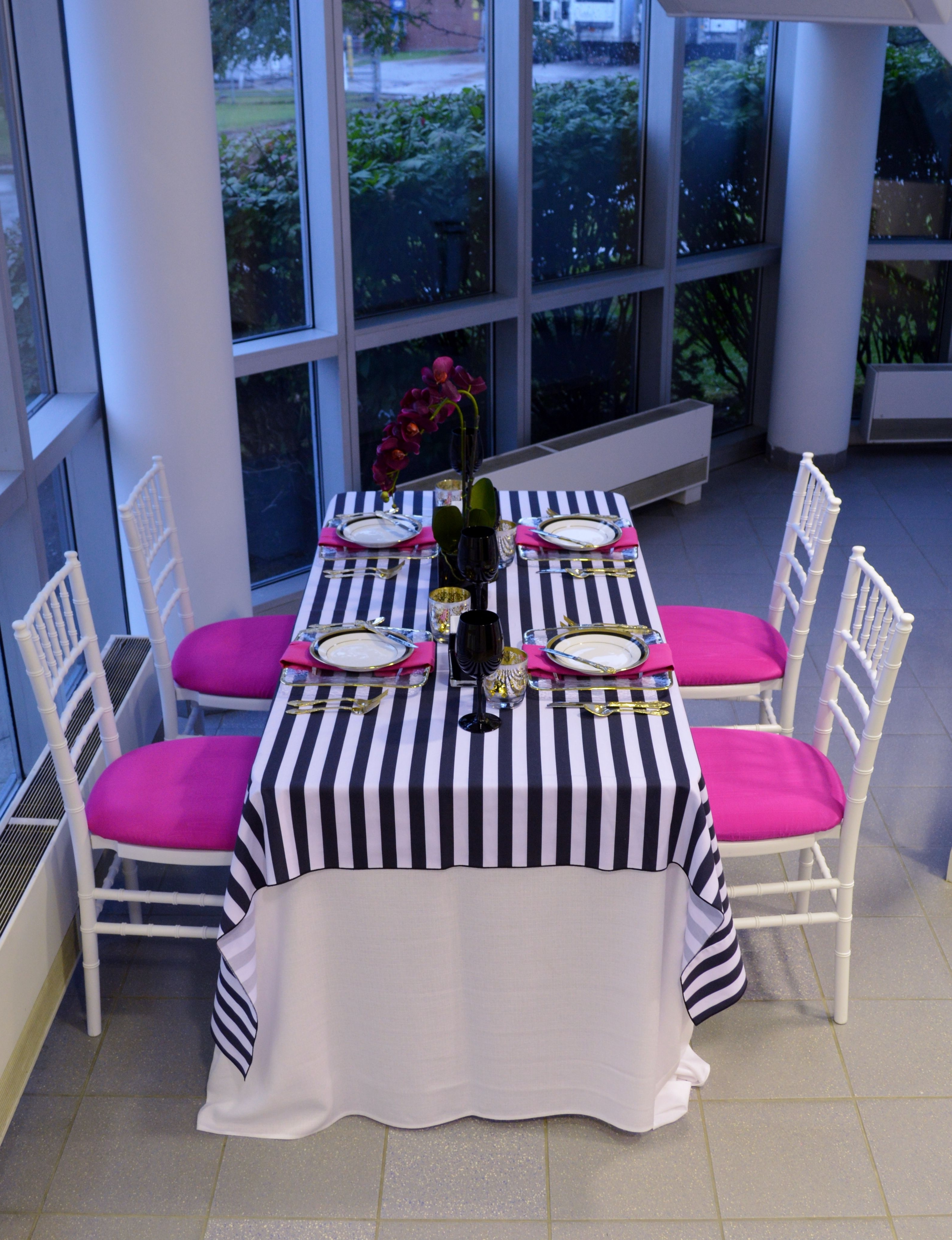 2017 White Chiavari Chairs With Fuschia Seat Caps, White Linen Underlay Inside Nautical Silver Side Chairs (View 16 of 20)