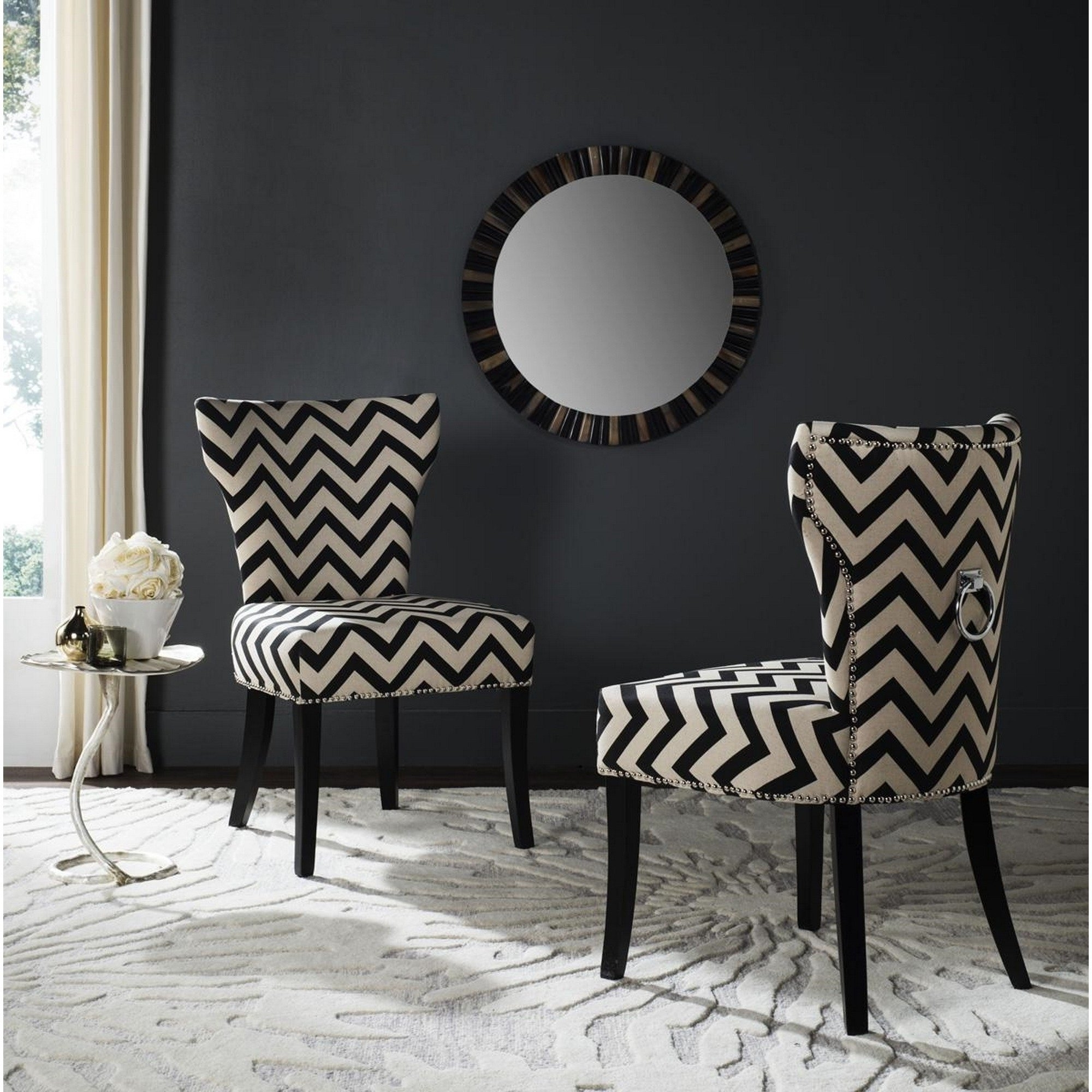 2018 Caira Black Upholstered Side Chairs Inside Shop Safavieh En Vogue Dining Jappic Chevron Black/white Ring Dining (View 2 of 20)