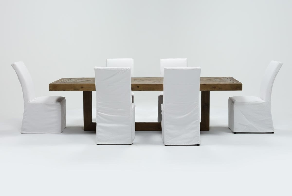 2018 Pearson White Slipcovered Side Chairs Pertaining To Palazzo 7 Piece Dining Set With Pearson White Side Chairs (View 2 of 20)