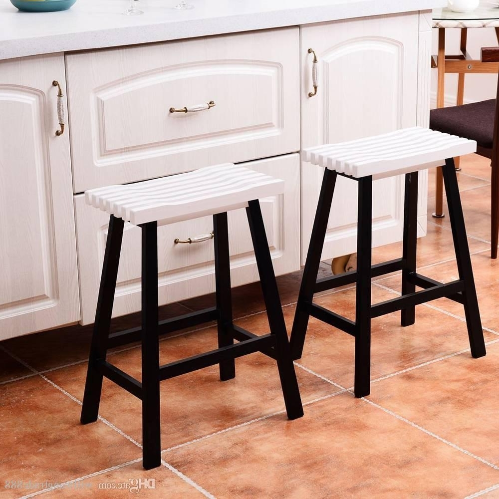 2018 Pine Wood Saddle Seat Bar Stool Dining Chair Black White From Regarding Most Recent Pine Wood White Dining Chairs (View 10 of 20)