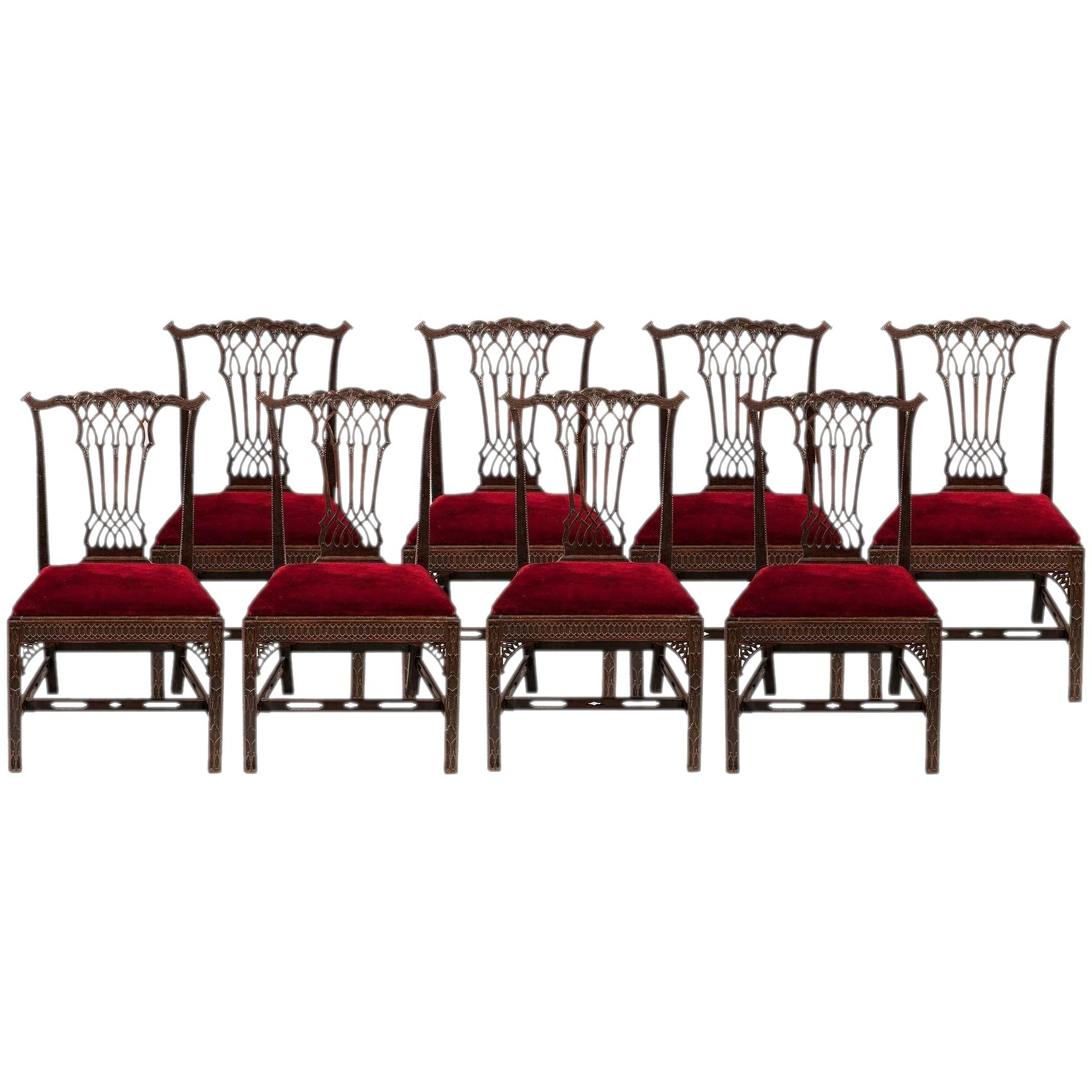 2018 Set Of Eight Side Chairs In The Georgian Gothick Manner : Butchoff Within Partridge Side Chairs (Gallery 20 of 20)