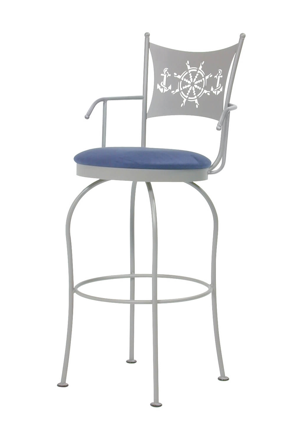 2018 Trica Art Collection Swivel Stool W/ Arms, Nature, Nautical Theme Intended For Nautical Silver Side Chairs (View 13 of 20)
