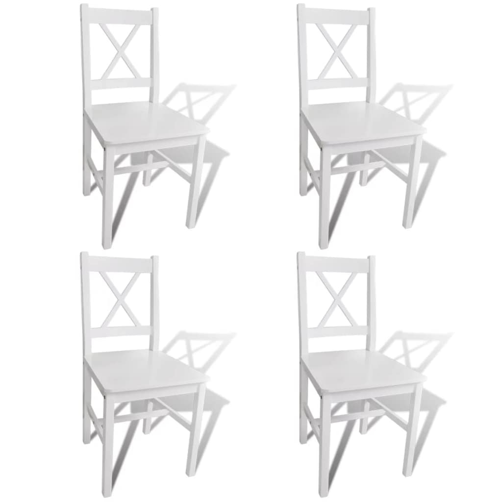 2018 Vidaxl Solid Pine Wood Set Of 4 Dining Chairs Kitchen Dining Room In Pine Wood White Dining Chairs (View 9 of 20)
