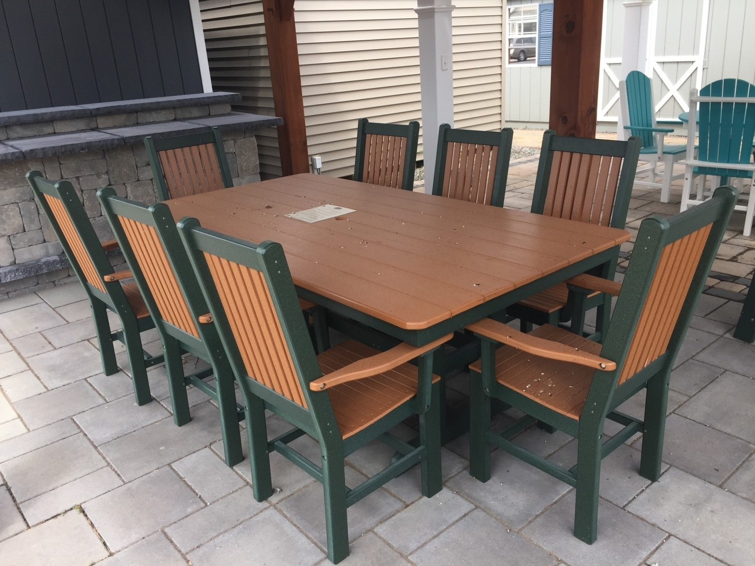 "44""x84"" Poly Furniture Mission Dining Table: In Stock Sheds, Storage For Newest Green Cedar Dining Chairs (View 2 of 20)"