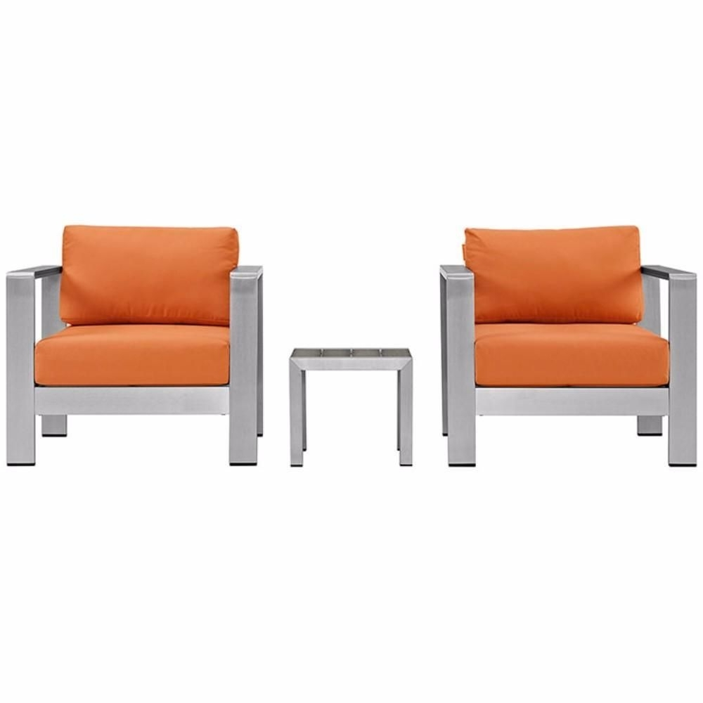 Alexa Firecracker Side Chairs Throughout Preferred Shore 3 Piece Outdoor Patio Aluminum Sectional Sofa Set, Silver (View 4 of 20)