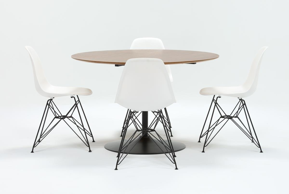 Alexa Firecracker Side Chairs Within Preferred Vespa 5 Piece Round Dining Set With Alexa White Side Chairs (Gallery 9 of 20)