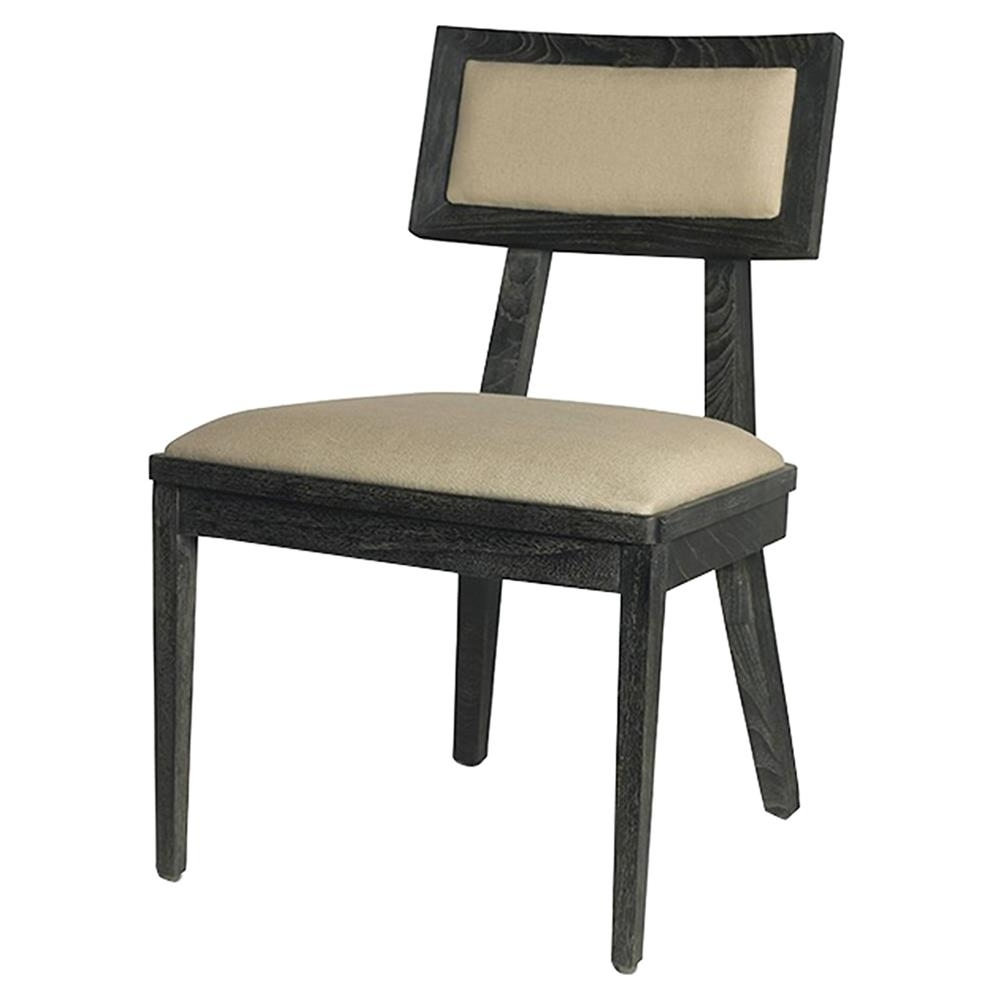 Alexa Grey Side Chairs Intended For 2017 Ainara Rustic Modern Black Grey Linen Side Chair (View 4 of 20)