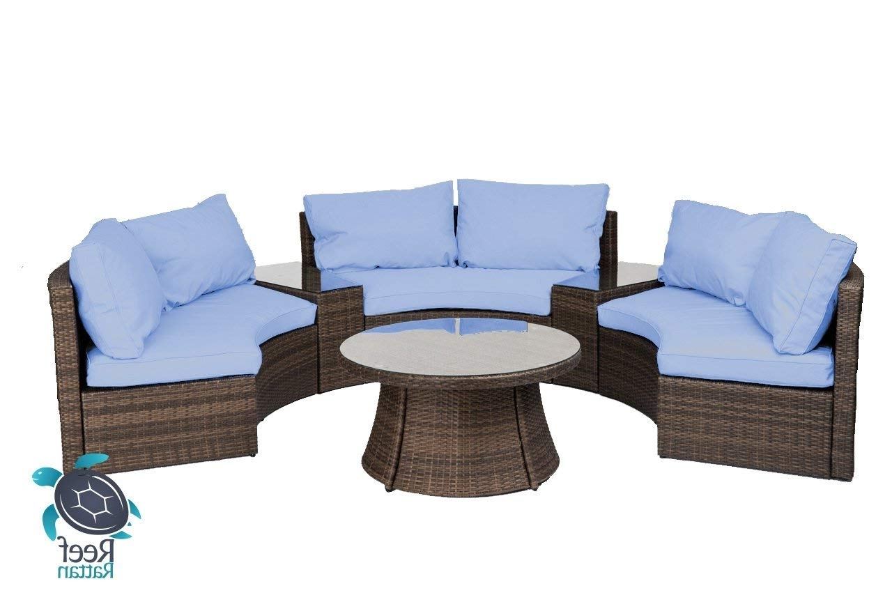 Alexa Reef Side Chairs With Regard To Favorite Amazon: Reef Rattan Comoros Half Moon 6 Pc Curved Bench Sofa Set (View 6 of 20)