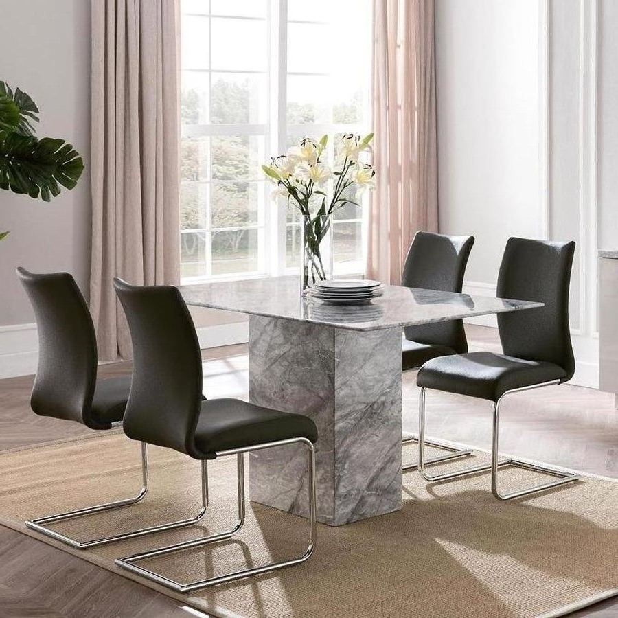 Alfrank Rhodes Marble Dining Set Within Most Current Garten Marble Skirted Side Chairs Set Of 2 (Gallery 13 of 20)