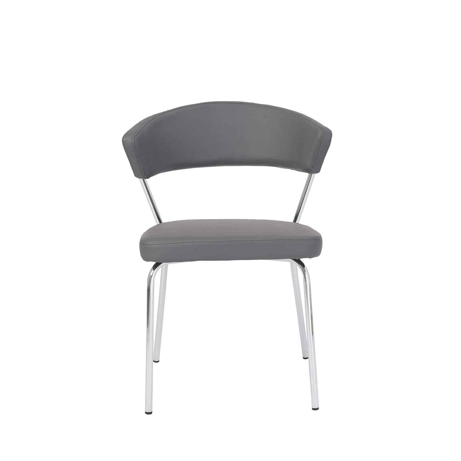 Amazon – Euro Style Draco Soft Leatherette Side Chair, Gray With Inside Popular Alexa Grey Side Chairs (Gallery 13 of 20)