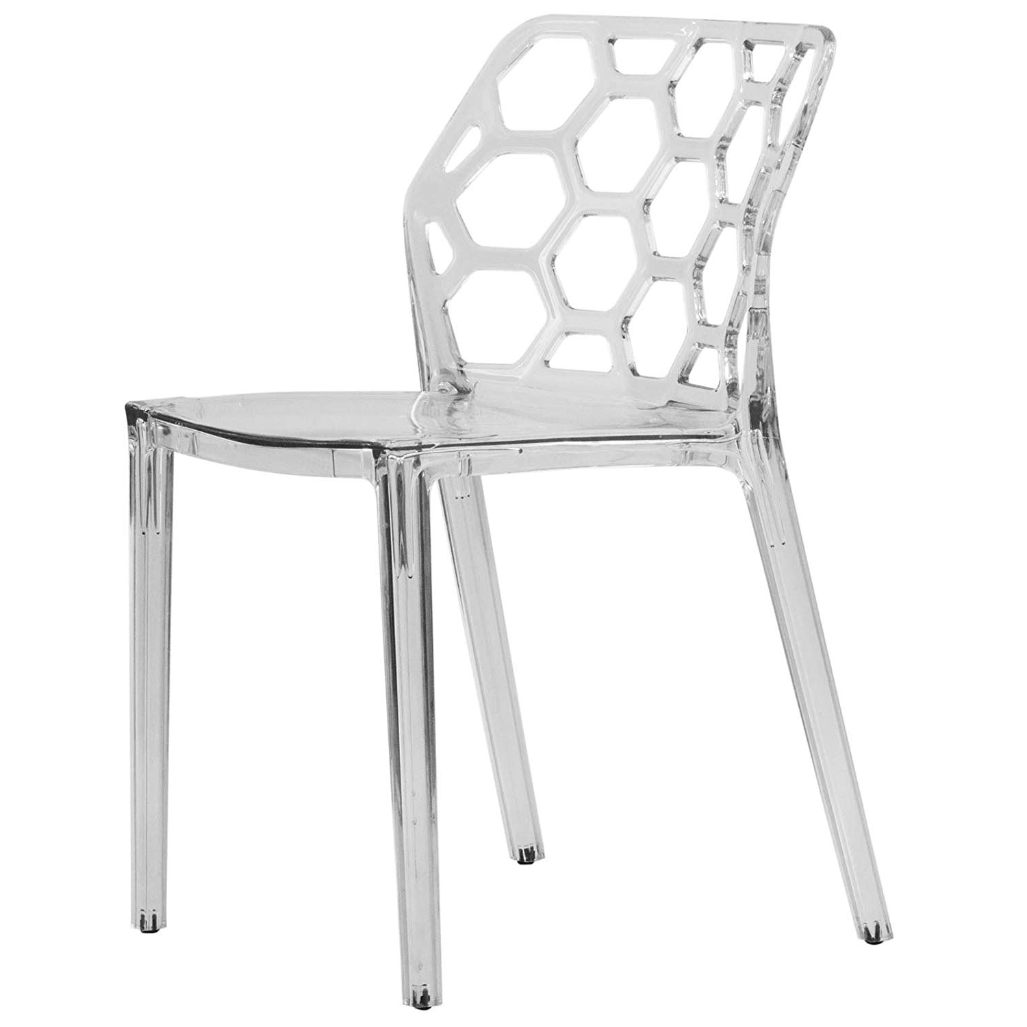 Amazon – Leisuremod Modern Dining Chair, Clear – Chairs Throughout Most Popular Burton Metal Side Chairs With Wooden Seat (View 1 of 20)