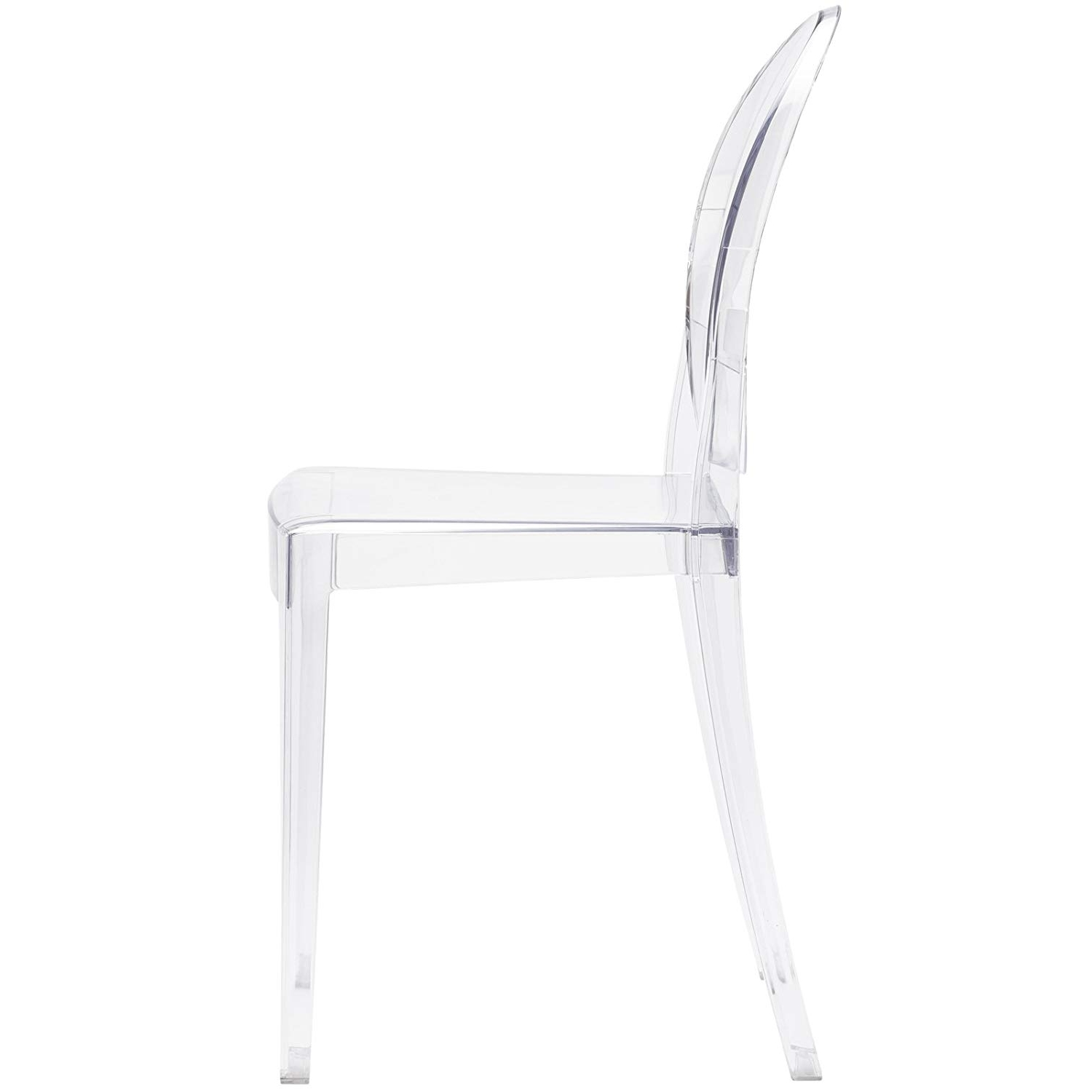 Amazon: Poly And Bark Burton Side Chair, Clear: Kitchen & Dining Intended For Current Burton Metal Side Chairs With Wooden Seat (View 2 of 20)