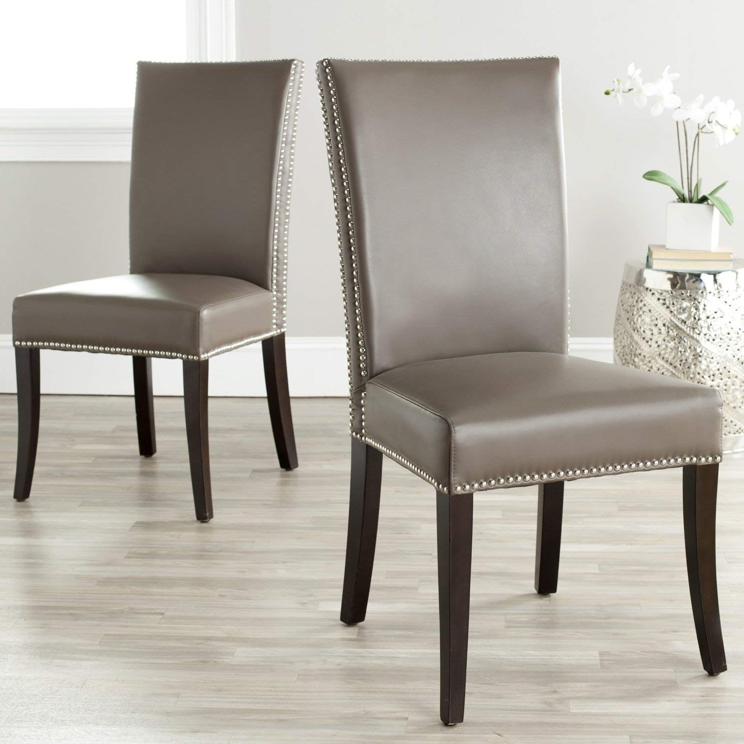 Amazon – Safavieh Mercer Collection Brewster Leather Side Chairs Regarding Popular Clay Side Chairs (View 1 of 20)