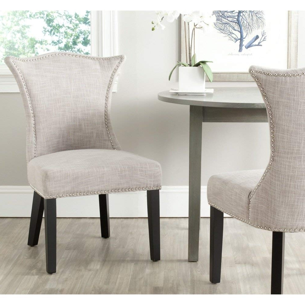 Amazon – Safavieh Mercer Collection Ciara Side Chair, Grey, Set Pertaining To Fashionable Caira Black Upholstered Side Chairs (View 6 of 20)