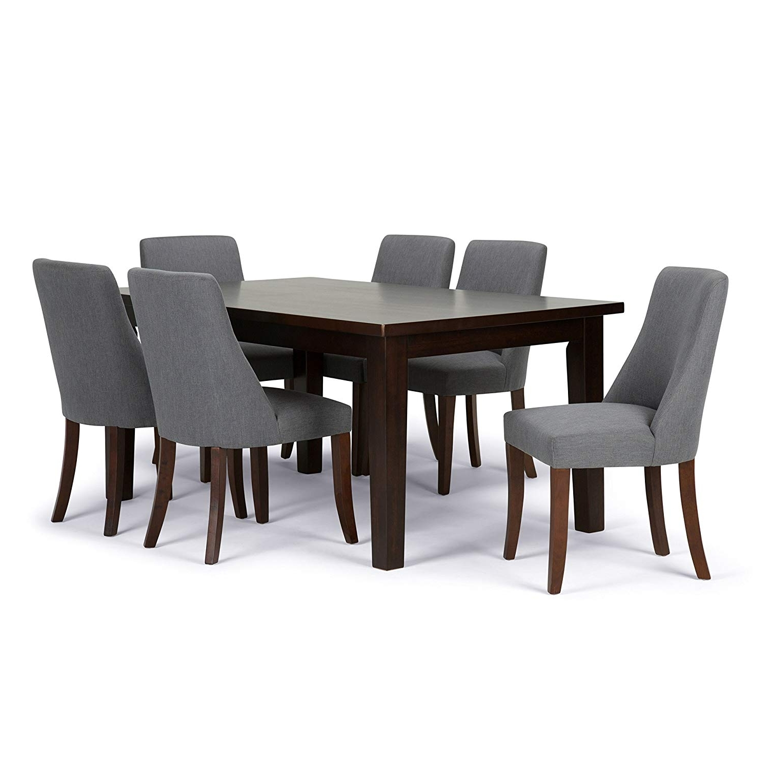 Amazon: Simpli Home Walden 7 Piece Dining Set, Stone Grey With Newest Walden Upholstered Side Chairs (View 2 of 20)