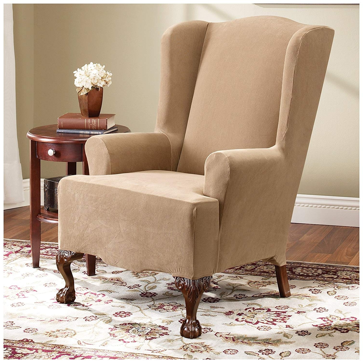 Amazon: Sure Fit Stretch Pearson Wing Chair Slipcover, Dark Flax Throughout Famous Pearson White Slipcovered Side Chairs (View 4 of 20)