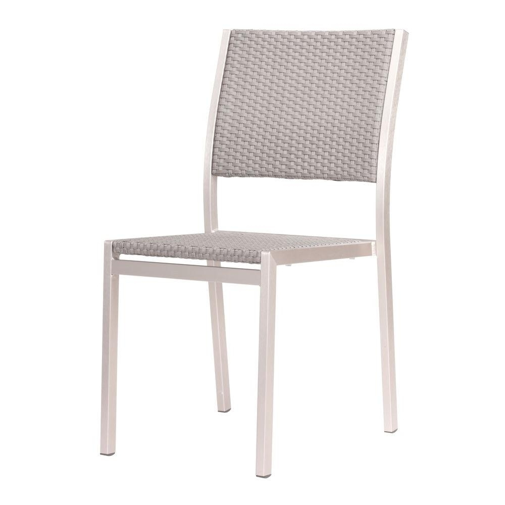 Armless Oatmeal Dining Chairs Throughout Favorite Zuo Metropolitan Brushed Aluminum Patio Dining Chair 701866 – The (View 4 of 20)
