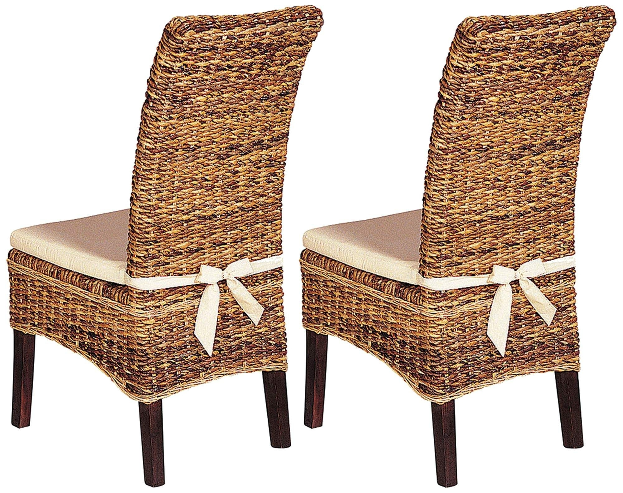 Banana Leaf Chairs With Cushion Throughout Well Known Set Of 2 Grass Roots Banana Leaf Dining Chairs With Cushions (View 4 of 20)