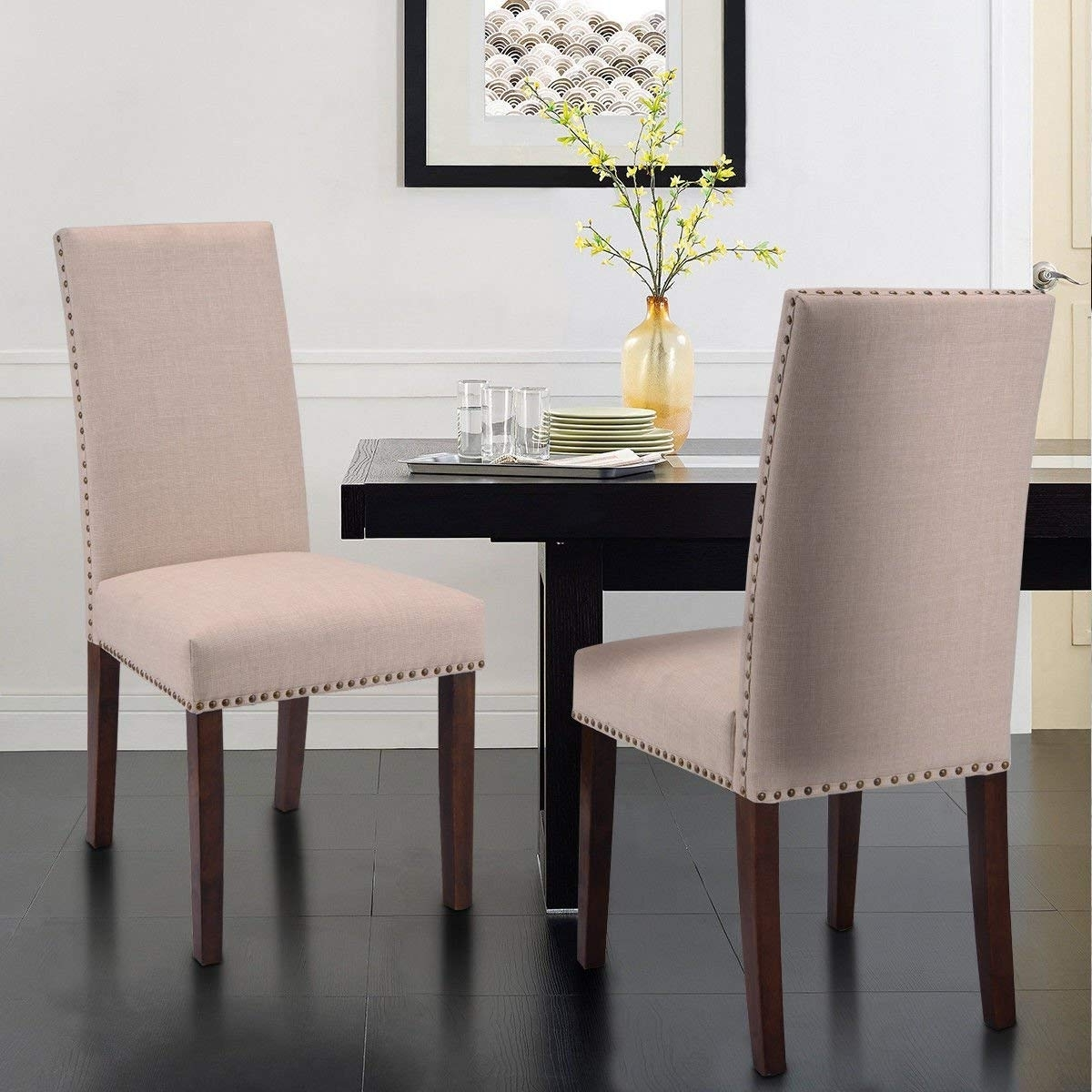 Best And Newest Amazon – Giantex Set Of 2 Fabric Upholstered High Back Dining Within Armless Oatmeal Dining Chairs (View 11 of 20)