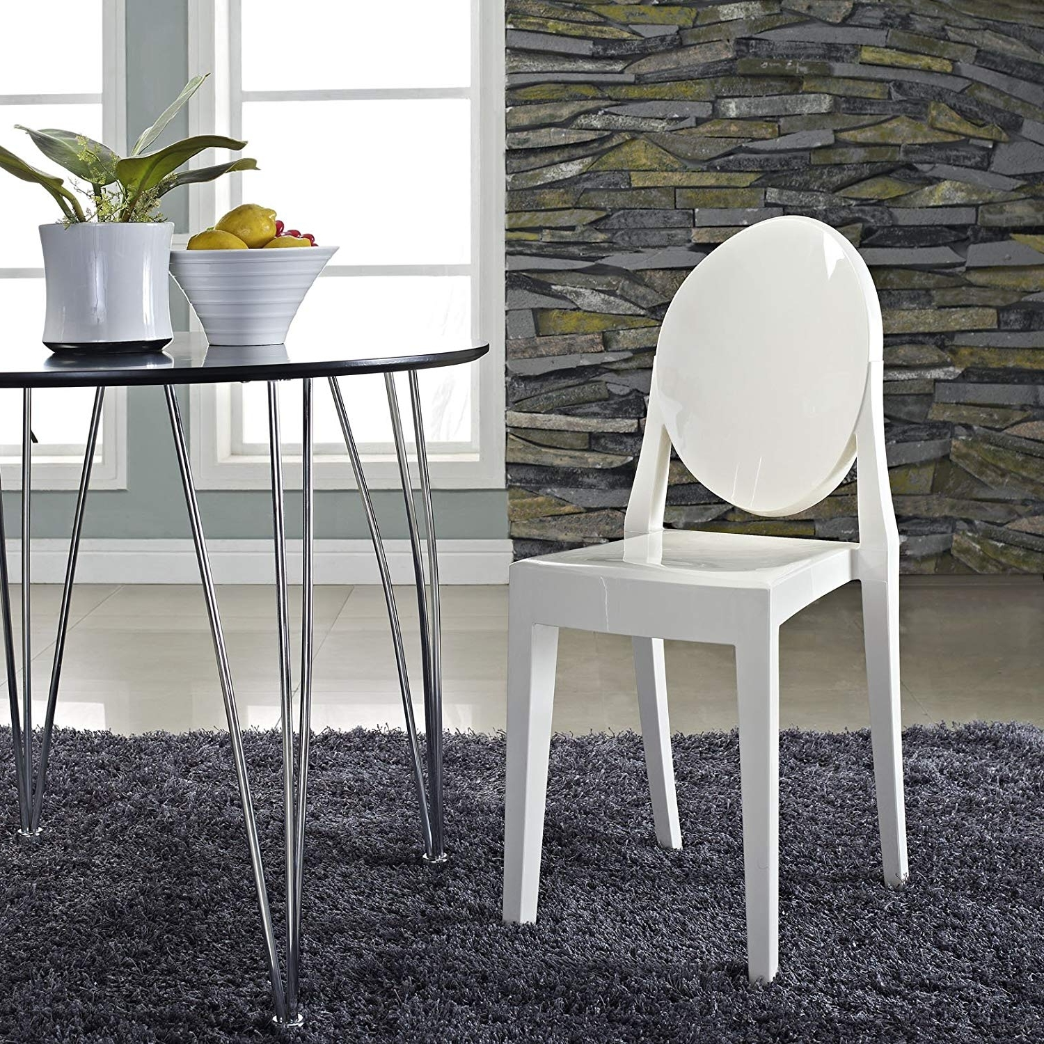 Best And Newest Amazon – Modway Casper Modern Acrylic Dining Side Chair In White In Mandy Paper White Side Chairs (View 7 of 20)