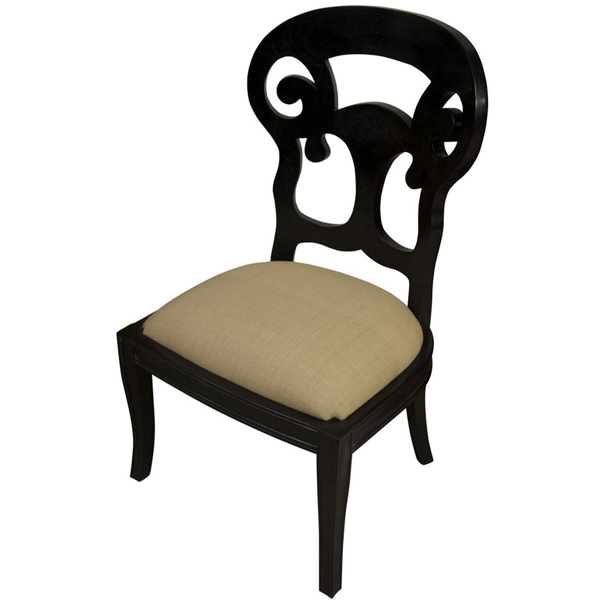 Best And Newest Noir Saragossa Side Chair, Hand Rubbed Black Gcha118Hb C (View 3 of 20)