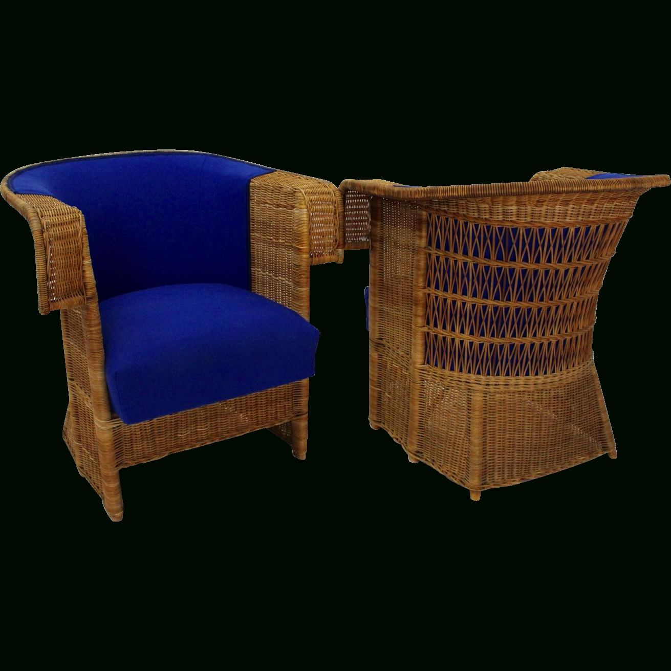 Best And Newest Pair Of Wicker Armchairshans Vollmer 1902/03 Vienna For Prag With Nautical Blue Side Chairs (View 19 of 20)